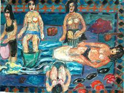 Art: Tunisian ritual with five women by Artist Gabriella Cleuren