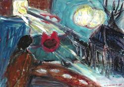 Art: Strange house in the moonlight by Artist Gabriella Cleuren