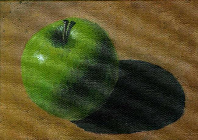 Art: Apple on a Table (Sold) by Artist Kimberly Vanlandingham