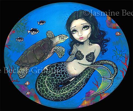 Art: Sea Turtle Mermaid by Artist Jasmine Ann Becket-Griffith