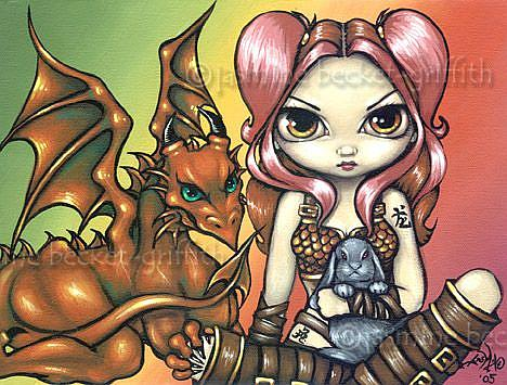 Art: Briseis and the Copper Dragon by Artist Jasmine Ann Becket-Griffith