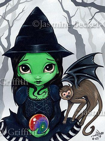 Art: Wicked Witch and her Flying Monkey by Artist Jasmine Ann Becket-Griffith