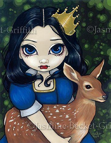 Art: Snow White and a Fawn by Artist Jasmine Ann Becket-Griffith
