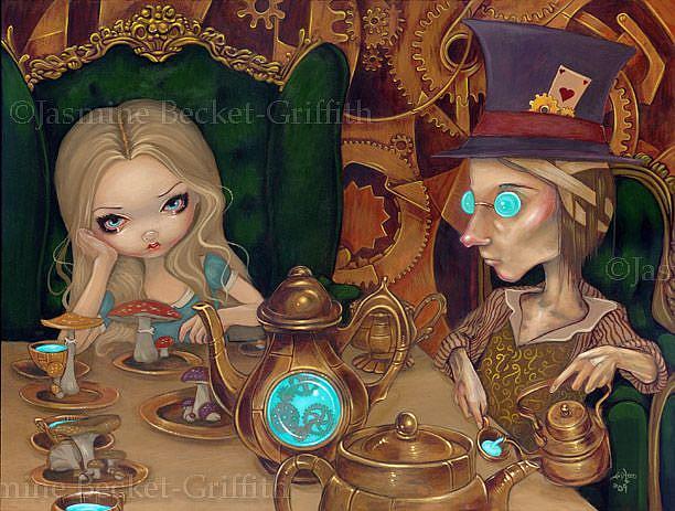 Art: Steampunk Alice in Wonderland:  Alice and the Mad Hatter by Artist Jasmine Ann Becket-Griffith