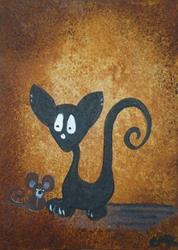 Art: Cat and Mouse - What? by Artist Charlene Murray Zatloukal
