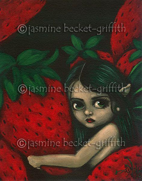 Art: Faerie with Strawberries by Artist Jasmine Ann Becket-Griffith