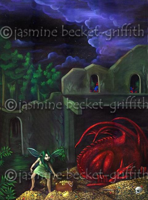 Art: Dragon with Faerie (a commissioned piece) by Artist Jasmine Ann Becket-Griffith