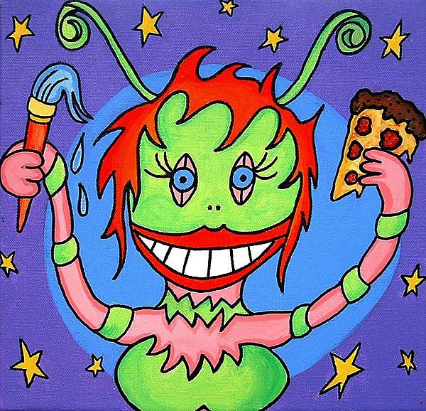 Art: Alien Visitor Eating Well-Done Pizza Slice While Painting Self-Portrait  by Artist Doris H. David
