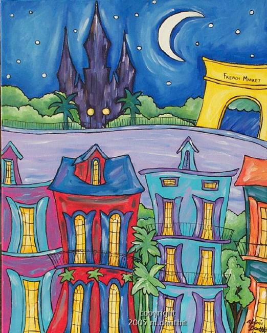 Art: New Orleans Folk Art City Scene by Artist Melanie Douthit