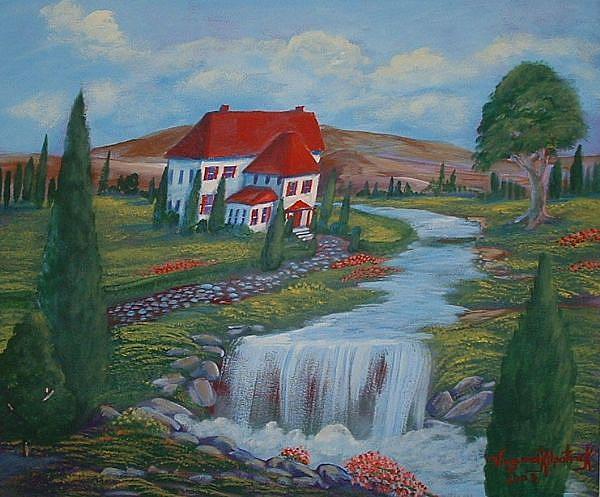 Art:  Red Roof Villa by Artist Virginia Kilpatrick