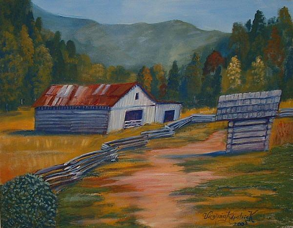 Art: Cades Cove Barn by Artist Virginia Kilpatrick