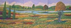 Art: Fall Landscape With Poppies by Artist Virginia Kilpatrick
