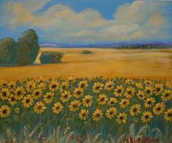 Art: Sunflower Stand by Artist Virginia Kilpatrick
