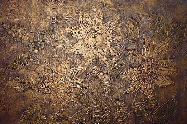 Art: Abstract Sunflower Relief by Artist Virginia Kilpatrick