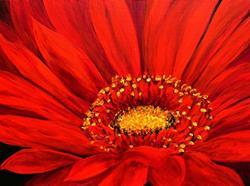 Art: Red Gerber Daisy by Artist Mary Jo Zorad