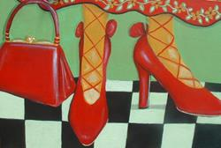 Art: My pretty Red Shoes With Matching Purse for Art and Sole show by Artist Virginia Kilpatrick