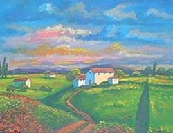 Art: Pink Sky Landscape by Artist Virginia Kilpatrick