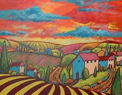 Art: Pink Roofs And Red Sky by Artist Virginia Kilpatrick