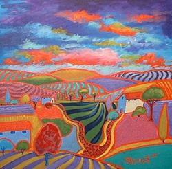 Art: Purple Sky With Orange Road by Artist Virginia Kilpatrick