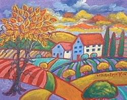 Art: Yellow And Red Leafed Tree by Artist Virginia Kilpatrick