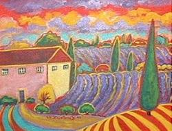 Art: Lavender And Yellow Clouds by Artist Virginia Kilpatrick