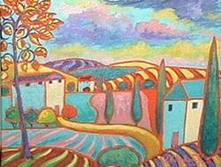 Art: Pink Field And Orange Tree by Artist Virginia Kilpatrick