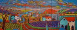 Art: Colorful Village Fauve Triptych by Artist Virginia Kilpatrick