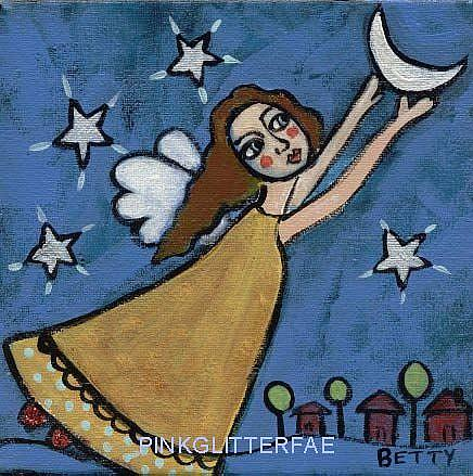 Art: Hanging the moon in the sky by Artist Betty Stoumbos