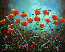 Art: Poppies abstract #1 by Artist Elena Feliciano