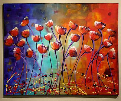 Art: Poppies abstract #4 by Artist Elena Feliciano