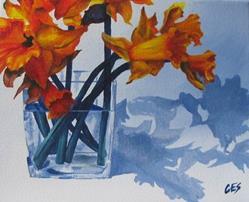 Art: Daffodil Shadows by Artist Christine E. S. Code ~CES~