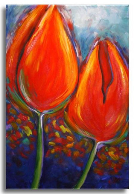 Art: Two Tulips by Artist Elena Feliciano