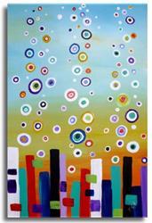 Art: Circles on Blue by Artist Elena Feliciano