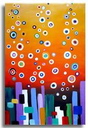 Art: Circles on Tangerine by Artist Elena Feliciano