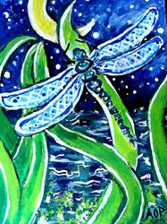 Art: Nibblefest Art Contest  ACEO, Dragonfly Moon by Artist Patience