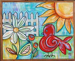 Art: Sunny Redbird by Artist Melanie Douthit