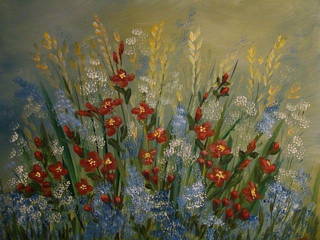 Art: Red Flowers in the Garden by Artist Leea Baltes