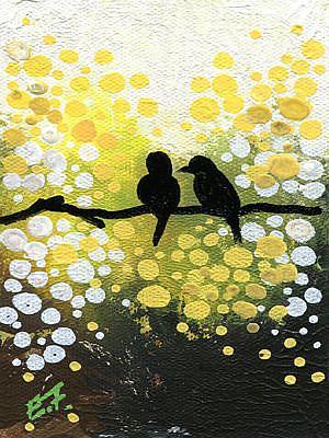 Art: Birds on Yellow by Artist Elena Feliciano