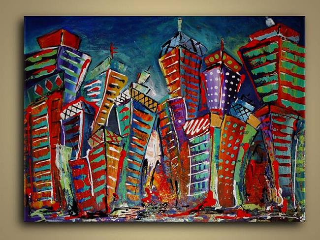 Art: Cityscape Abstract by Artist Elena Feliciano