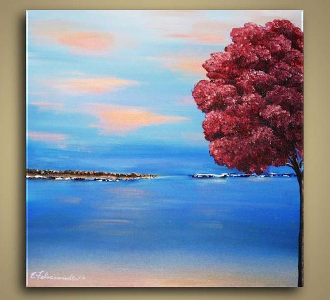 Art: Pink Tree and Ocean by Artist Elena Feliciano