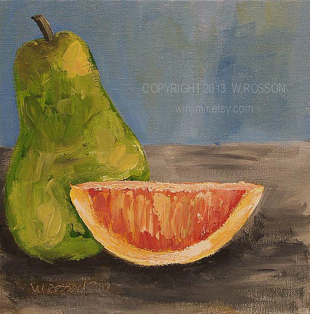 Art: Cara Cara Orange & Green Pear by Artist Windi Rosson