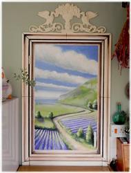Art: Trompe L'oeil Kitchen Cupboard/Door by Artist Justin Lowe