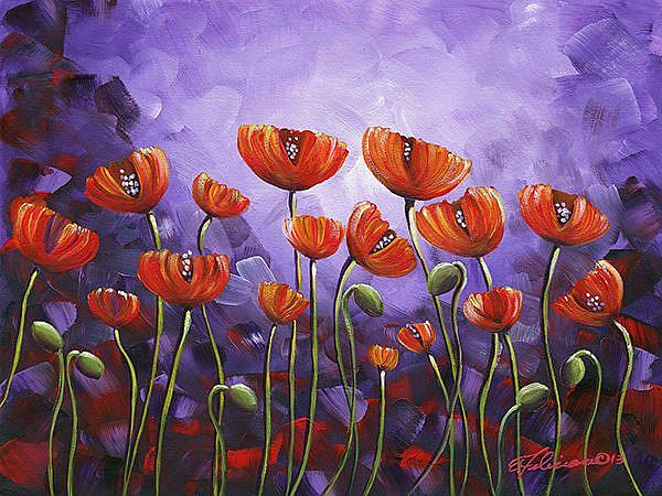Art: Purple Poppy Garden by Artist Elena Feliciano