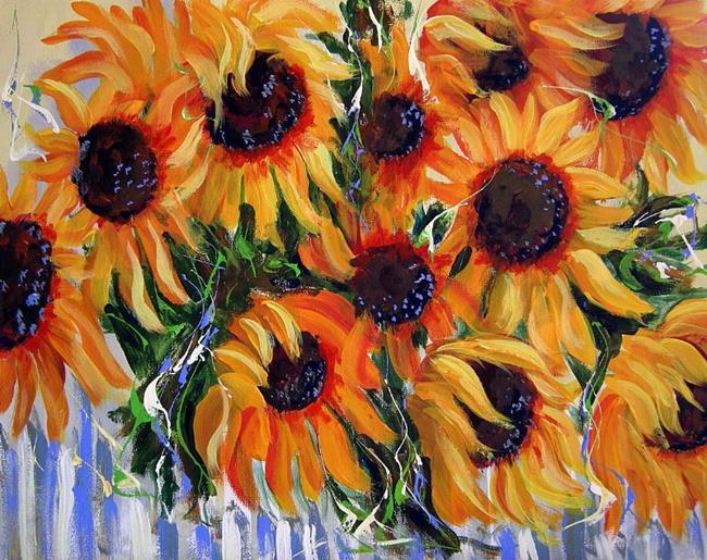 Art: Sunflowers on Picked Fence by Artist Diane Funderburg Deam