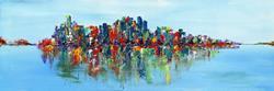 Art: NYC Skyline Abstract by Artist Elena Feliciano
