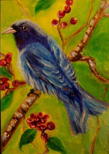 Art: Indigo Bunting Bird, ACEO by Artist Camille Meeker Turner