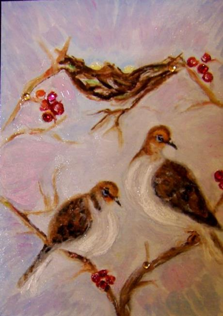 Art: 2 Doves Valentine by Artist Camille Meeker Turner