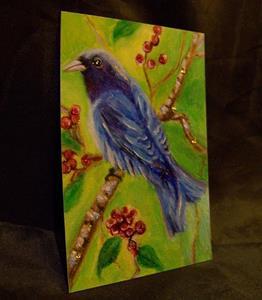 Detail Image for art Indigo Bunting Bird, ACEO