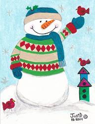 Art: Snowman In Sweater by Artist Dee Turner