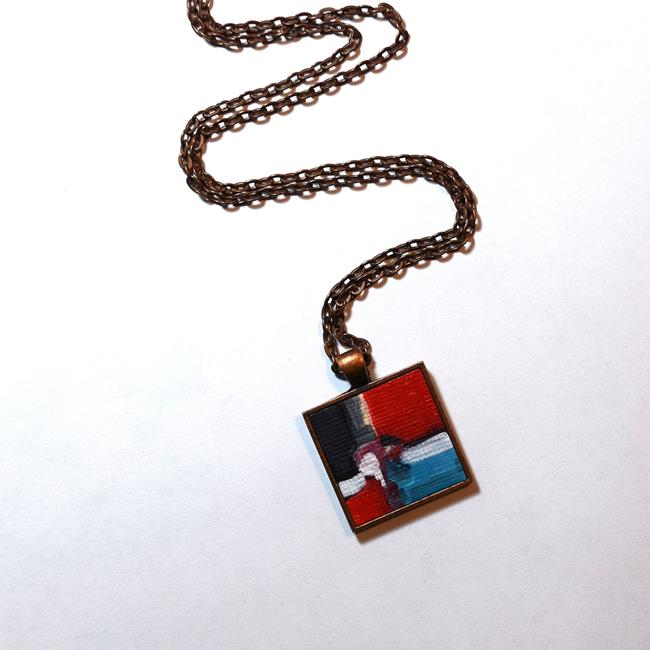 Art: Red and Black Abstract ~ Original Wearable Art by Artist Dana Marie